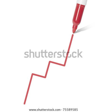 Profit Projection. Marker pen draws a graph. stock price/profit concept. Isolated on white. - stock photo