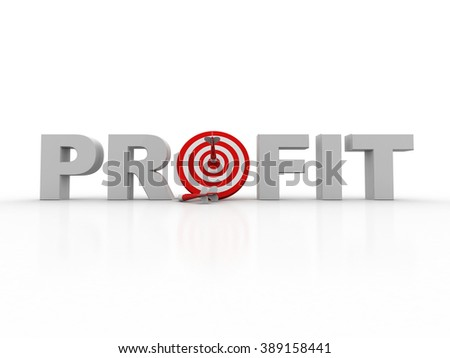 profit red word and conceptual target with arrow - stock photo