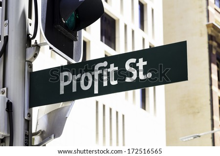 Profit Street Creative Sign - stock photo