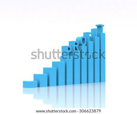 Profit text on growth chart. - stock photo