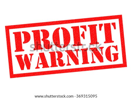 PROFIT WARNING red Rubber Stamp over a white background. - stock photo