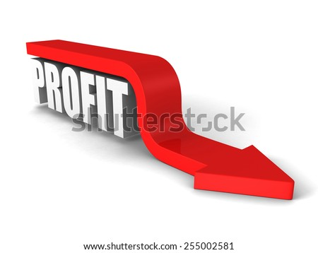 PROFIT white word with red arrow down. Business concept 3d render illustration - stock photo