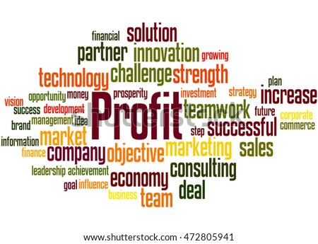 Profit, word cloud concept on white background.
