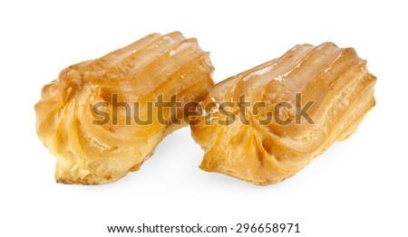 profiteroles on a white background - stock photo