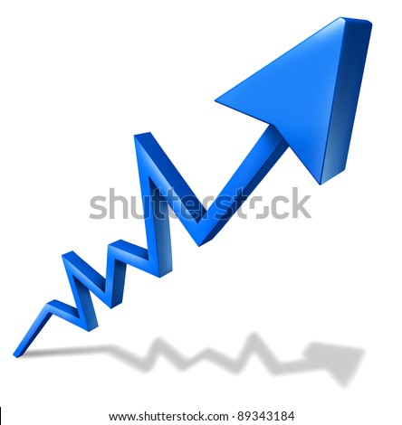 Profits and business success graph with a blue arrow pointing upward and rising as a symbol of financial success and economic indicator of profitability and growth on a white background with shadow.