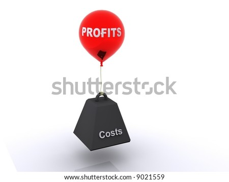 Profits and costs a metaphor for the challenge of making sure costs are met and profits are achieved. - stock photo
