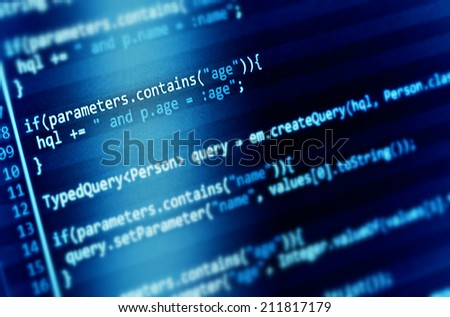 Program code on a monitor  - stock photo