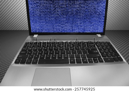 Program script developer source code display on computer laptop monitor screen. Digital technology background. Programming code abstract screen of software developer. Computer script, function. - stock photo