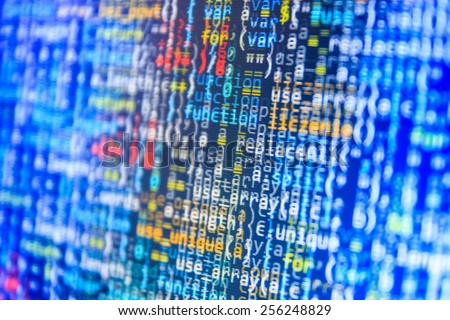 Program source code on monitor screen. Blue color. - stock photo