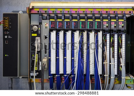 Programmable logic controller (PLC) in industry - stock photo