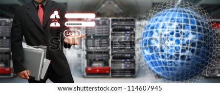 Programmer activated user password for security in data center room : Elements of this image furnished by NASA - stock photo