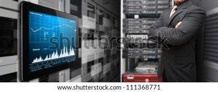 Programmer and data report on digital tablet - stock photo