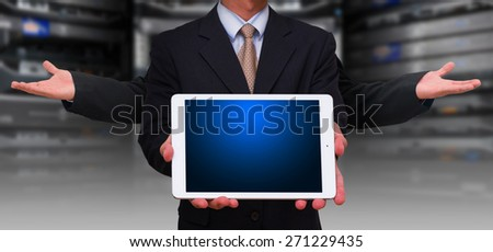 Programmer and digital tablet - stock photo