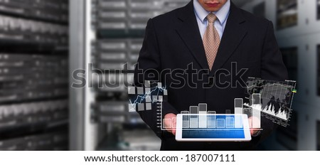 Programmer and Graph icon  - stock photo