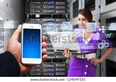 Programmer and icon control from smart phone - stock photo