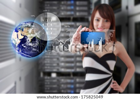 Programmer and icon control the server : Elements of this image furnished by NASA