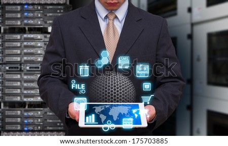 Programmer and icon control the system in data center room  - stock photo