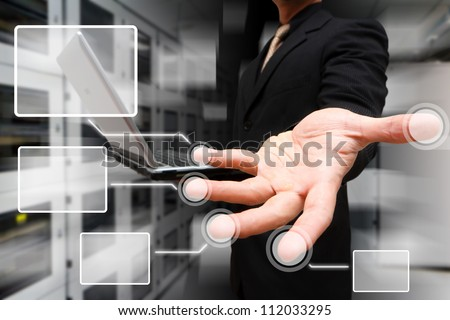 Programmer and Link button on finger - stock photo