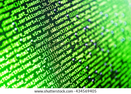 Programmer developer screen. Computer program. Abstract screen of software. Source code photo. Developer working on software codes in office. Monitor photo. Programmer workplace.   - stock photo