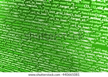 Programmer developer screen, web app coding. Script on computer. Modern display of data source code. Programming code abstract screen of software developer. - stock photo