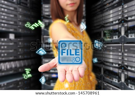 Programmer in data center room and file system for service  - stock photo