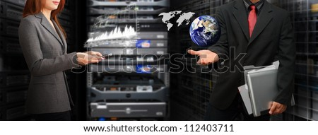 Programmer in data center room and keep the file system from the world : Elements of this image furnished by NASA