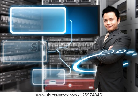 Programmer in data center room and window icon - stock photo