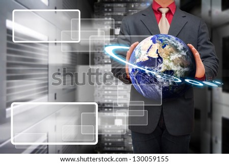Programmer in data center room and window icon : Elements of this image furnished by NASA - stock photo