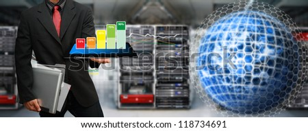 Programmer monitor system in data center room : Elements of this image furnished by NASA - stock photo