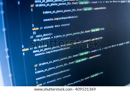 Programmer occupation. Computer script.   Website codes on computer monitor. Developer working on program codes in office. Writing programming code on laptop. Software background.