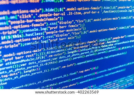 Programmer occupation. Website development. Programmer developer screen. Monitor photo. Computer script.  Technology background. Source code photo. Programmer workplace. Abstract screen of software. - stock photo