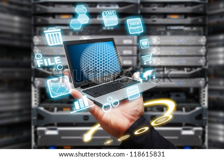 Programmer take control the digital file in data center room