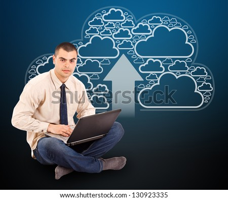 Programmer with laptop, cloud computing icons on background