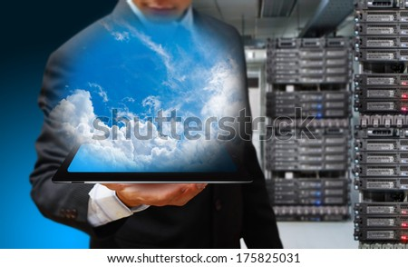 Programmer with tablet - stock photo