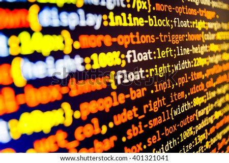 Programmer workplace. Computer script.  Computer program. Software source code. Source code photo.  Website codes on computer monitor. Programming code abstract screen of software developer.   - stock photo