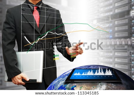 Programmers in data center room and graph for monitor the system : Elements of this image furnished by NASA - stock photo