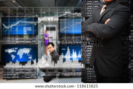 Programmers team and graph report for service - stock photo