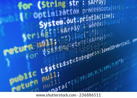 Programming code abstract screen of software developer. Computer script.  - stock photo