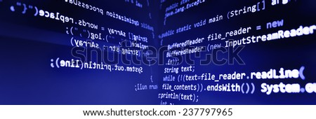 Programming code abstract screen of software developer. Computer script. Blue color. - stock photo
