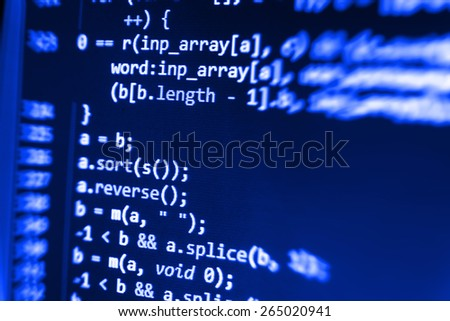 Programming code abstract screen of software developer. Computer script coding source code on desktop monitor. Blue color abstract background. - stock photo