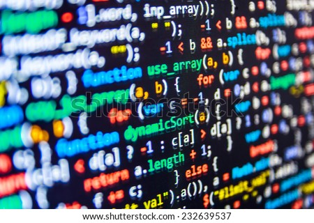Programming code abstract screen of software developer. Computer script.  (MORE SIMILAR IN MY GALLERY)