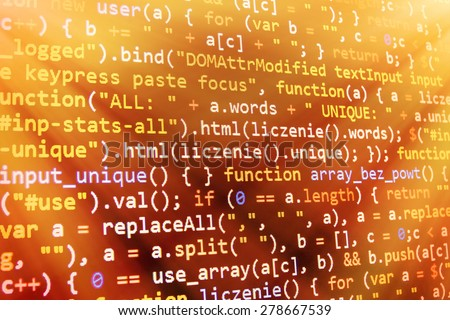 Programming code abstract screen of software developer. Computer script. Orange yellow gold, golden color. - stock photo