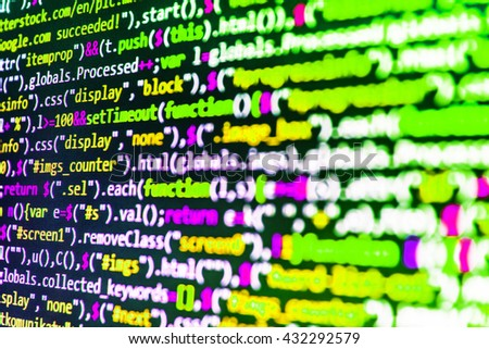 Programming code. Software source code.  Programmer occupation. Developer working on software codes in office. Website development. Monitor photo. Source code photo. Abstract screen of software.   - stock photo