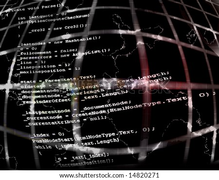 Programming Code Source Background Texture Illustration Design Black Background - stock photo