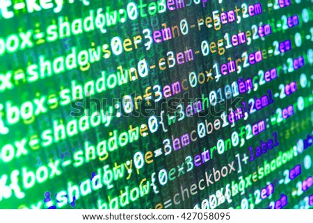 Programming code. Technology background.  Website codes on computer monitor. Monitor photo. Programming code abstract screen of software developer. Programming code on computer screen.   - stock photo