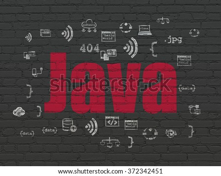 Programming concept: Java on wall background - stock photo
