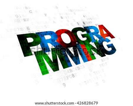 Programming concept: Pixelated multicolor text Programming on Digital background - stock photo