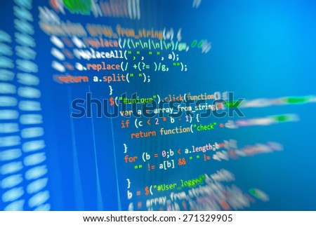Programming source code abstract screen of software developer. Computer script. Blue color. - stock photo