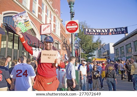 Programs $2 at historic Fenway Park, Yawkey Way, Gate A, Boston Red Sox, Boston, Ma., USA, May 20, 2010, Red Sox versus Minnesota Twins, attendance, 38,144, Red Sox win 6 to 2 - stock photo