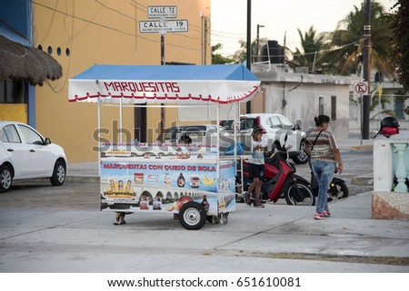 PROGRESO, MEXICO - JANUARY 26,2017: Food stand  seller in Progreso Mexico,January 26,2017.